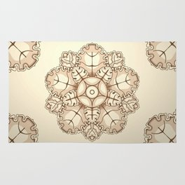 Beige elegant ornament fretwork Baroque style Rug