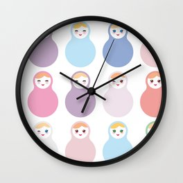 dolls matryoshka on white background, pastel colors Wall Clock