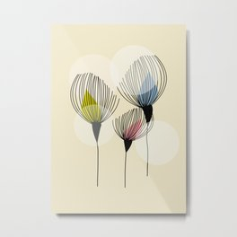 Retro Minimal Flowers Metal Print