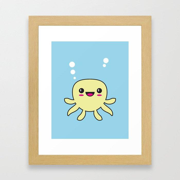 Kawaii Octopus Framed Art Print
