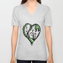 Birth Hearts No.4 - Green Unisex V-Neck