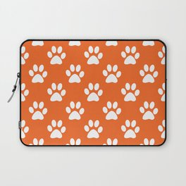 Orange and white paw prints pattern Laptop Sleeve