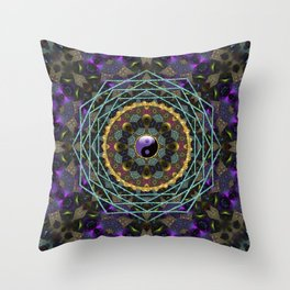 Purple Yin Yang Sacred Geometry Fractals Throw Pillow