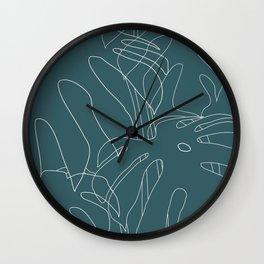 Monstera No2 Teal Wall Clock