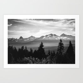 Morning in the Mountains Black and White Art Print