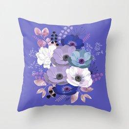 Anemones & Gardenia Blue bouquet Throw Pillow