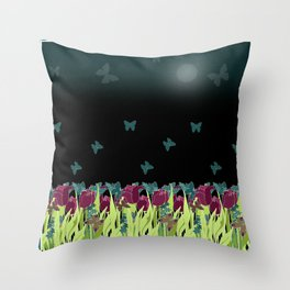 Red tulips in the night. Throw Pillow