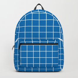 French blue - blue color - White Lines Grid Pattern Backpack