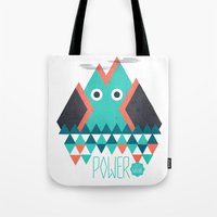 power Tote Bags featuring Power by Studio Axel Pfaender