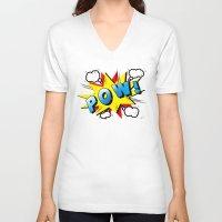 superheroes V-neck T-shirts featuring superheroes by mark ashkenazi
