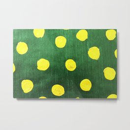 Abstract yellow polka dot hand painted on green background Metal Print