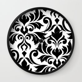 Flourish Damask Art I Black on White Wall Clock