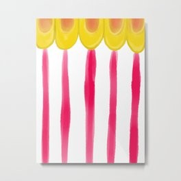 Circus Tent Stripe, Pink and Gold Palette Metal Print