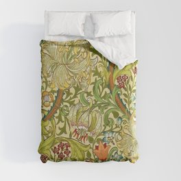 William Morris Calla Lilies, Tulips, Daffodils, & Red Poppies Textile Print Duvet Cover