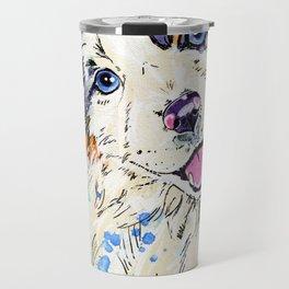 Aussie Pup - Australian Shepherd Dog Painting Travel Mug