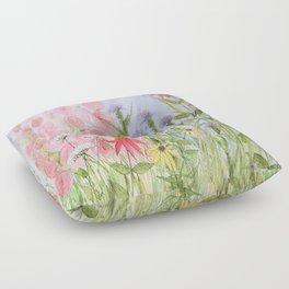 Pink Blue Yellow Flowers Blue Skies  Floor Pillow