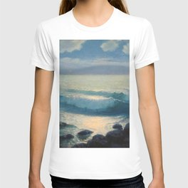 Waves at High Tide at the Beach with moonlight and stars coastal landscape painting by Lionel Walden T-shirt