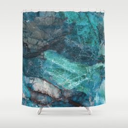 Cerulean Blue Marble Shower Curtain