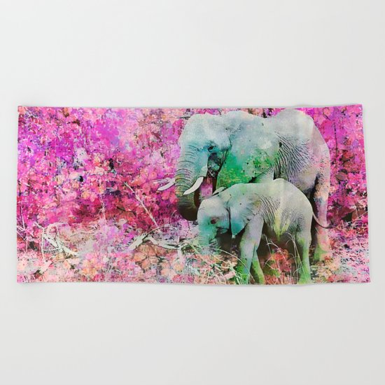 Elephant art mother child pink floral Beach Towel