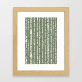 Into The Woods green Framed Art Print
