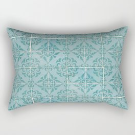 Victorian Turquoise Ceramic Tiles Rectangular Pillow