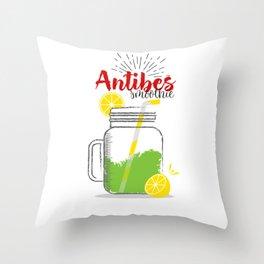 Antibes: Summer, sun, sea & smoothies Throw Pillow