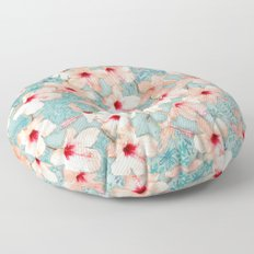 Shabby Chic Hibiscus Patchwork Pattern in Peach & Mint Floor Pillow