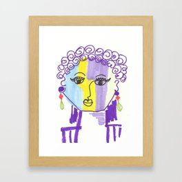 Crazy Face Purple Curls Framed Art Print