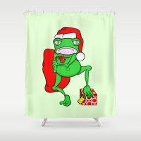 santa Shower Curtains featuring Frog Santa by mailboxdisco