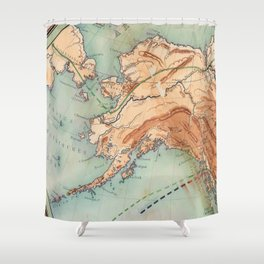 Old Alaskan Map Shower Curtain