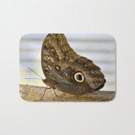 Wood Butterfly on Wood Bath Mat