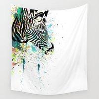 zebra Wall Tapestries featuring Zebra by Del Vecchio Art by Aureo Del Vecchio