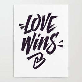 Love Wins Brush Lettering Poster
