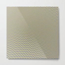 Geometric Waves _Illuminating yellow & Ultimate gray_filler surface pattern  Metal Print