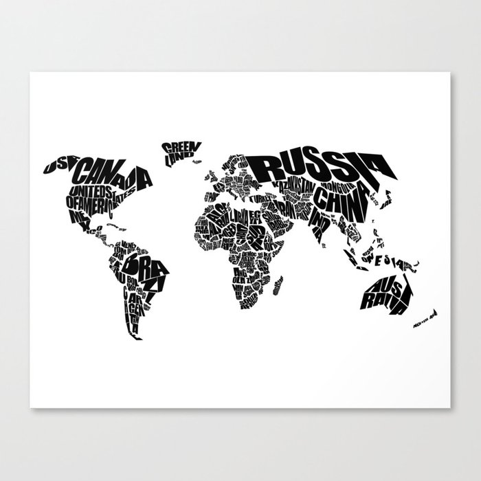 World word map black and white canvas print by inkofmegraphics world word map black and white canvas print gumiabroncs Gallery