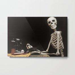 Greetings from Halloween Skeleton Metal Print