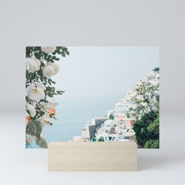 Positano landscape with white flowers Mini Art Print