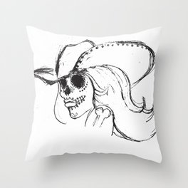 Day of the Dead Cowgirl Throw Pillow