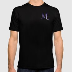Watercolour illustration typography alphabet M MEDIUM Black Mens Fitted Tee