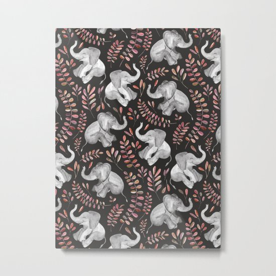 Laughing Baby Elephants - Coral Metal Print