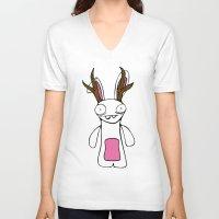 jackalope V-neck T-shirts featuring Jackalope by Henrik Norberg