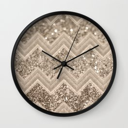 Sepia Glitter Chevron #1 #shiny #decor #art #society6 Wall Clock