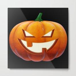 Pumpkin Face Halloween Pumpkin evil grin Metal Print