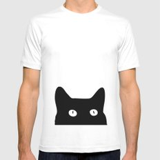 Black Cat MEDIUM Mens Fitted Tee White