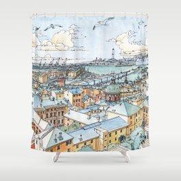 Panoramic of Genoa Shower Curtain