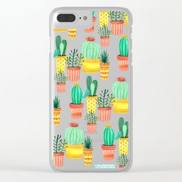 Hello! Colorful Watercolor Cactus and Succulent in Patterned Planters Clear iPhone Case