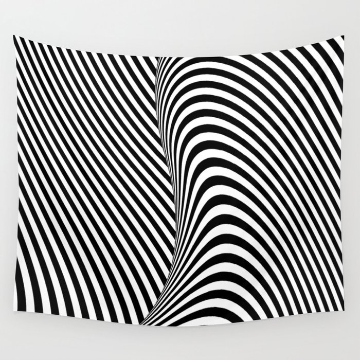 Line Optical Designing : Black and white pop art optical illusion lines wall