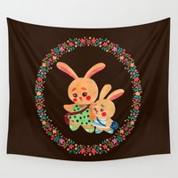 sisters Wall Tapestries featuring Bunny Sisters by haidishabrina