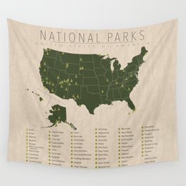 US National Parks w/ State Borders Wall Tapestry