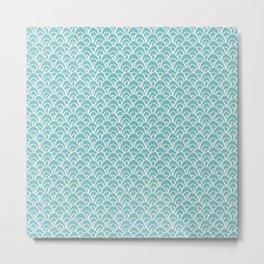 Seigaiha Aqua Sky Cyan Turquoise Mermaid Scales Pattern Shapes Metal Print